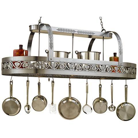 "Sandra Lee Leaf 65"" Wide Satin Steel Pot Rack Chandelier"