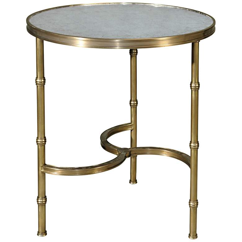 """Bamboo Brass 22"""" Wide Round Glass Top Accent Table"""