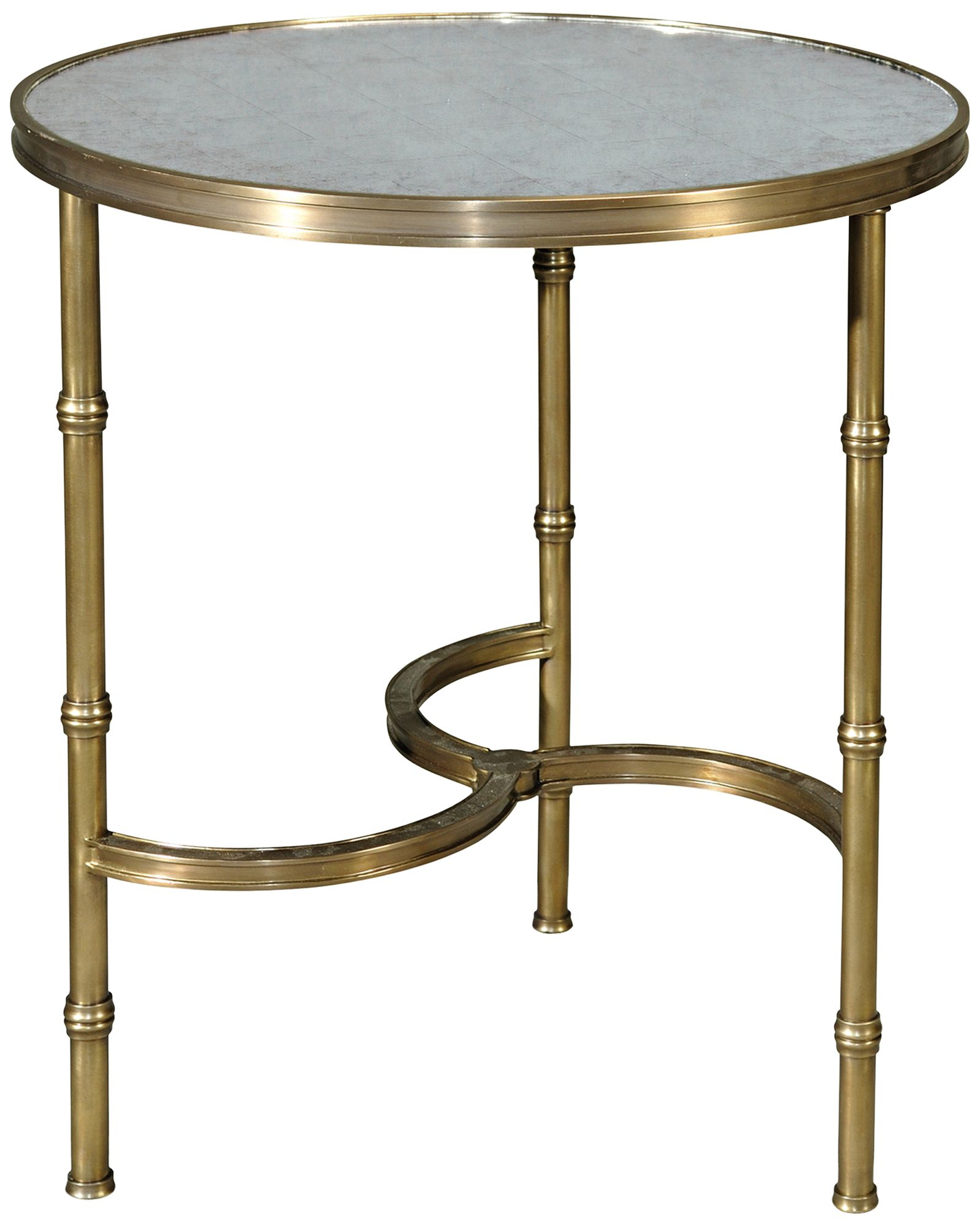 Attractive Brass All Around Glass Top Round Accent Table