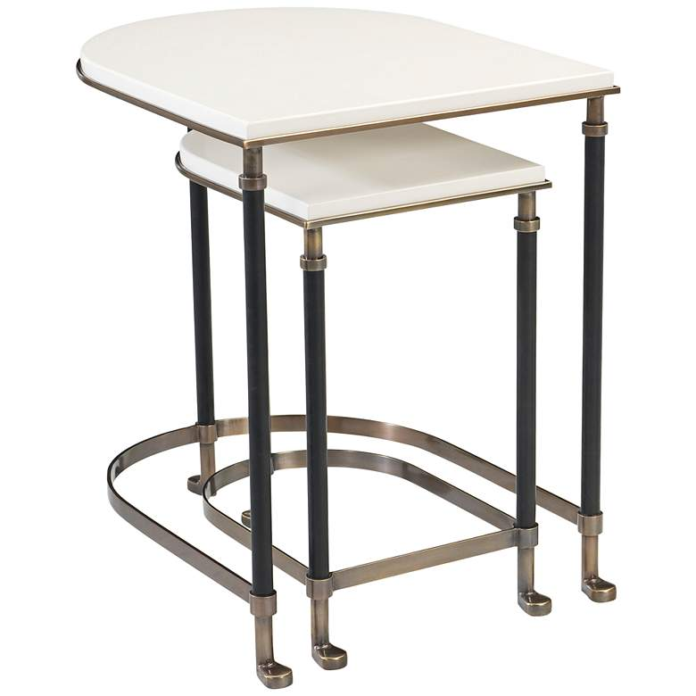 """Torrance 24 1/4"""" Iron and Ivory Nesting Tables"""