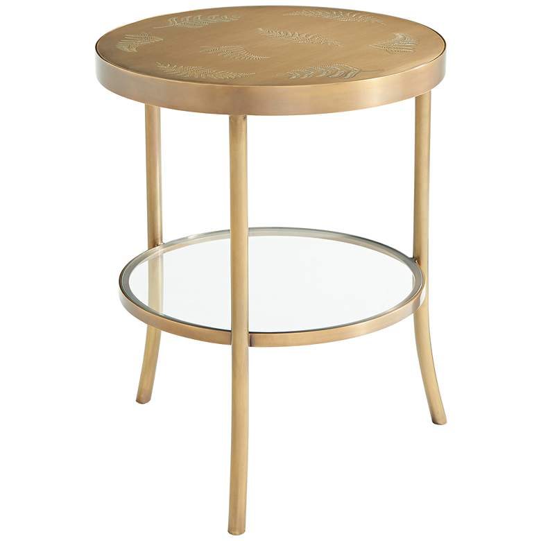 "Discovery 20"" Wide Fern Pattern Round Accent Table"