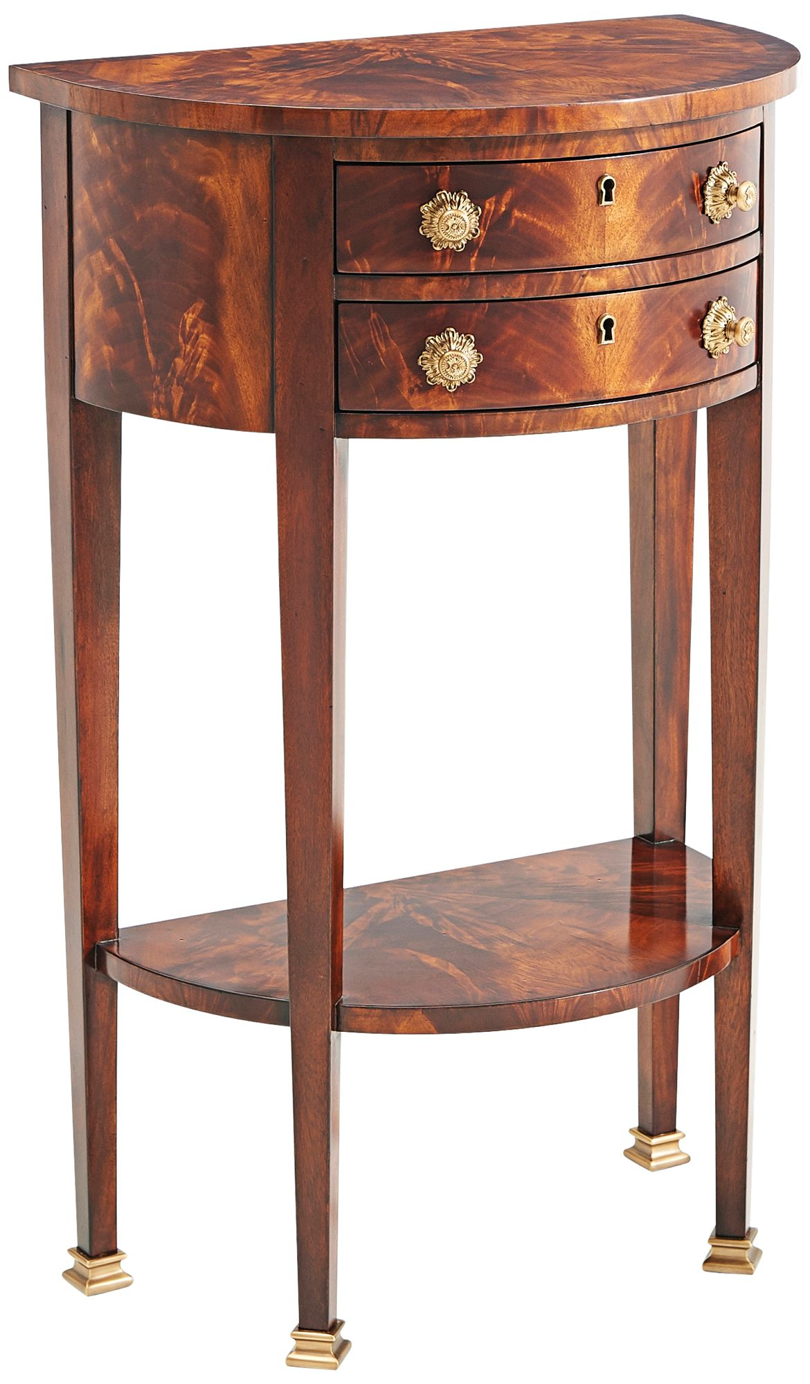 Demi Lune Medium Brown Wood 2 Drawer Console Table