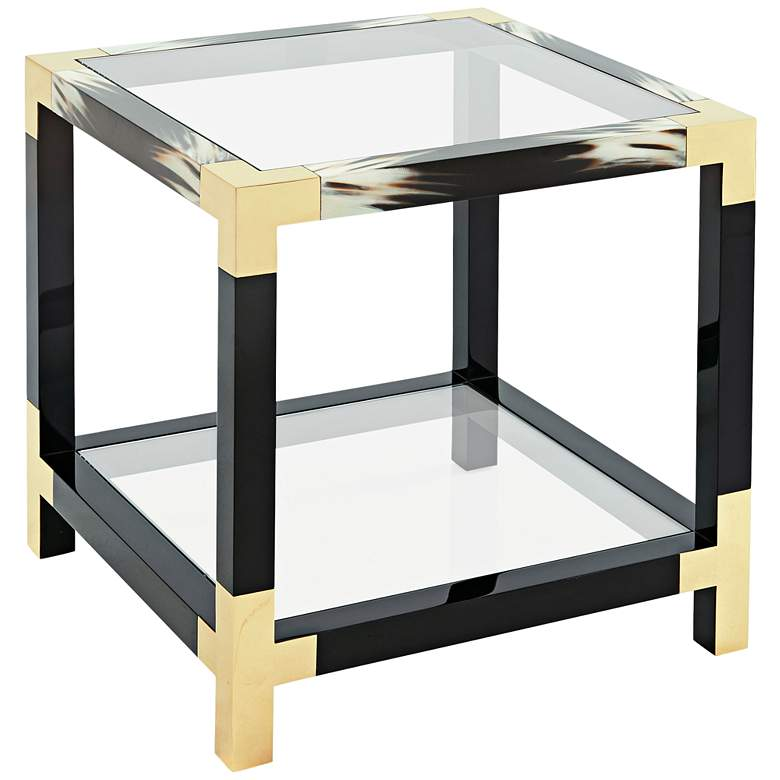 """Cutting Edge 25"""" Wide Glass and Wood Occasional Table"""