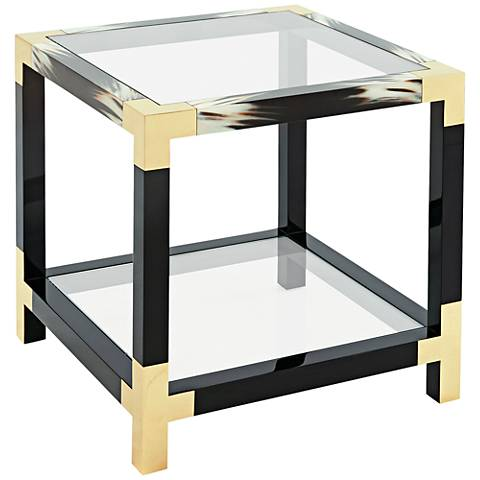 Cutting Edge Tempered Glass Top Wood Occasional Accent Table