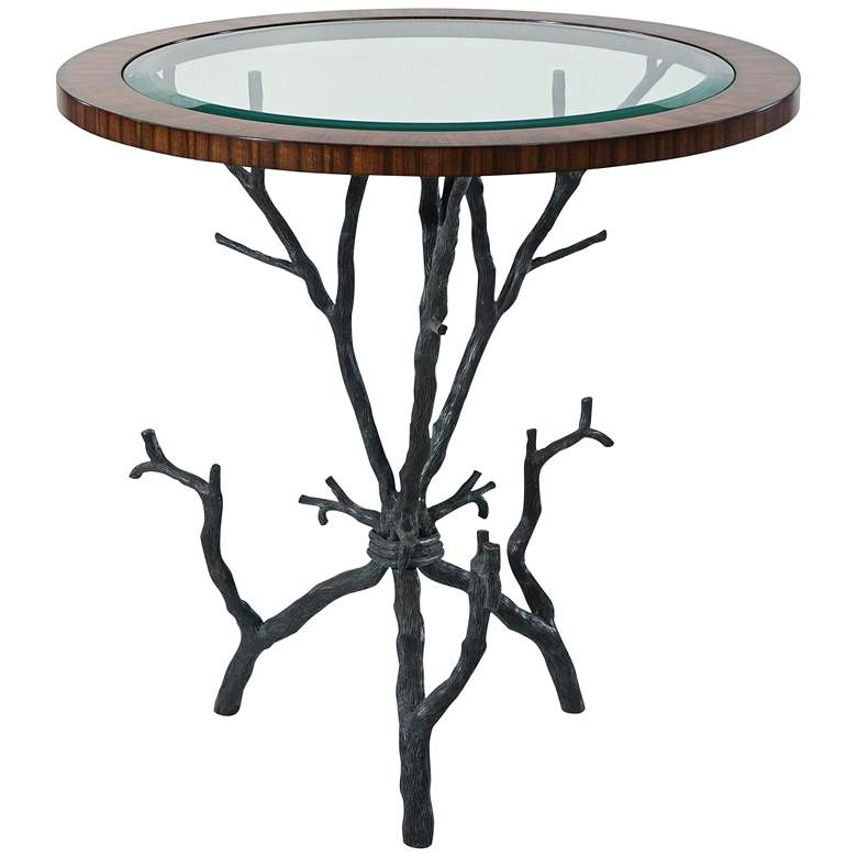 """Arbore 26"""" Wide Brass and Glass Tree Branch Accent Table"""