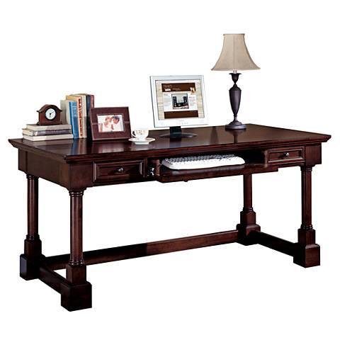 "Mount View Cherry Cobblestone 66"" Wide Writing Desk"