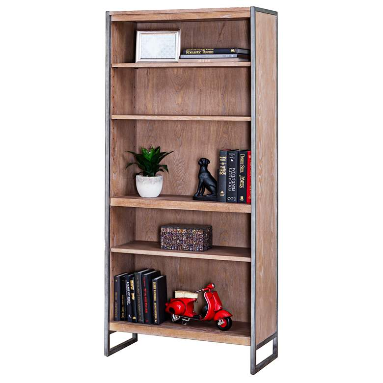 """Belmont Rustic Wire 66"""" High Brush Ash Bookcase"""