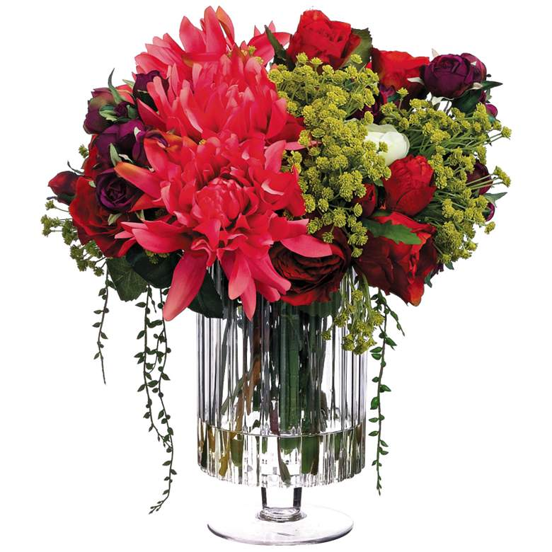 """Dahlia and Red Rose 16"""" Wide Faux Flowers in Glass Vase"""