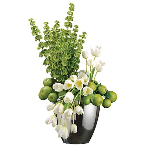 """White Tulip and Green Apple 35"""" High Faux Flowers in Vase"""