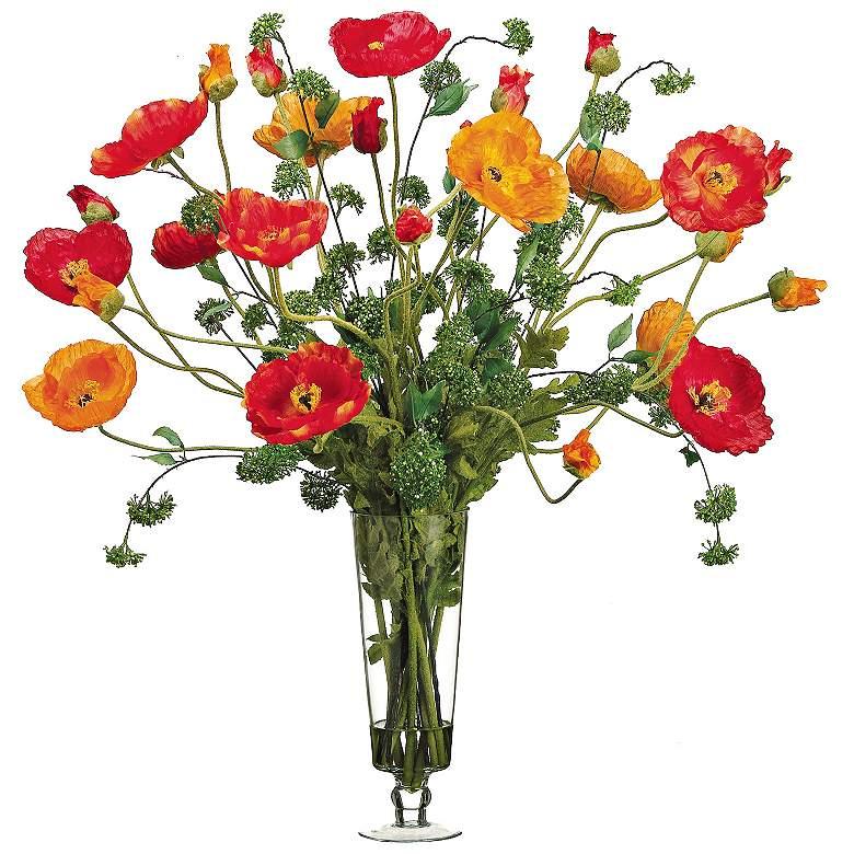 """Orange Large Poppy 39"""" Wide Faux Flowers In Glass Vase"""