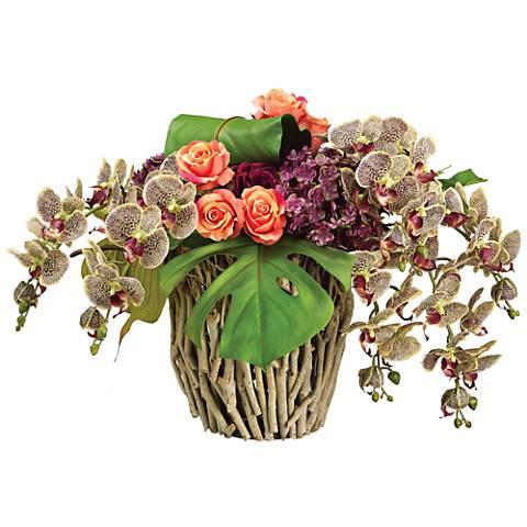 "Phalaenopsis Orchid Hydrangea 24""W Faux Flowers in Twig Vase"