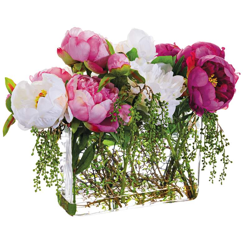 """Pink and White Peony 19"""" Wide Faux Flowers in Glass Vase"""