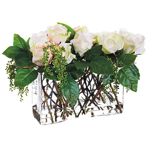 White Rose And Berry 15 Wide Faux Flowers In Glass Vase 1r312
