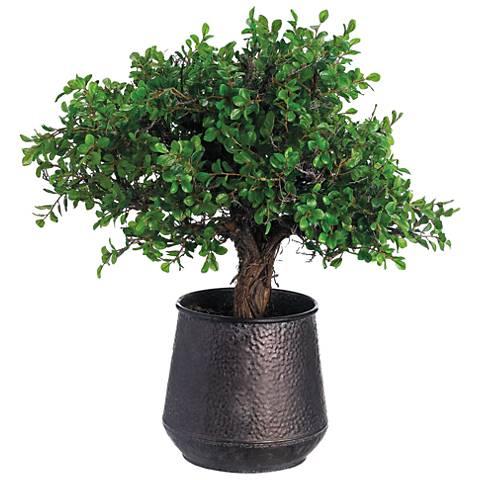 "Button Leaf Tree 27"" High Potted Faux Flower Arrangement"