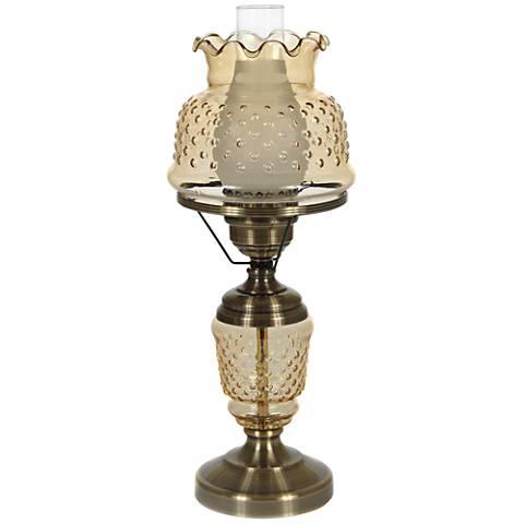 "Amber Hobnail Glass 22"" High Hurricane Table Lamp"