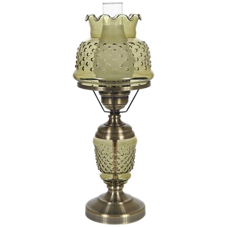 "Green Hobnail Glass 22"" High Hurricane Table Lamp"