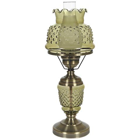 "Green Hobnail Glass 22"" High Hurricane Table Lamp"