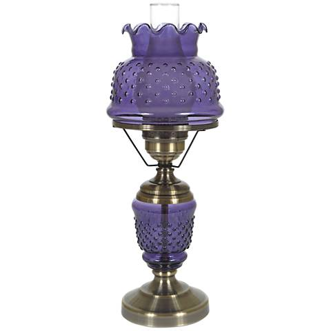 "Purple Hobnail Glass 22"" High Hurricane Table Lamp"