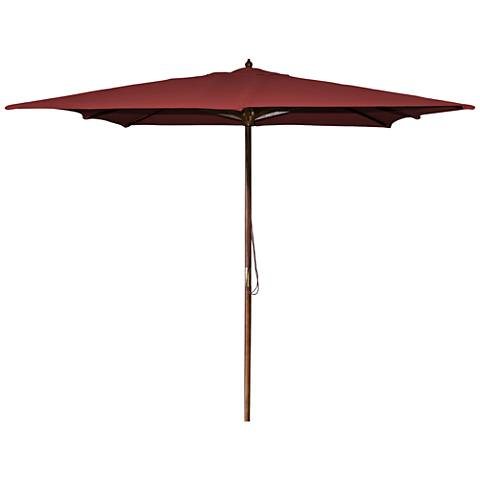 La Jolla Burgundy 8 1/2' Wooden Square Market Umbrella