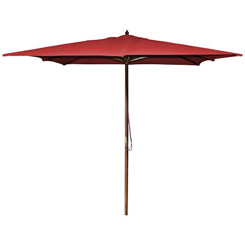 La Jolla Red 8 1/2' Wooden Square Market Umbrella