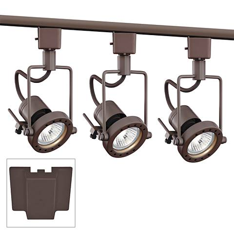 3-Light Bronze European Style Track Kit with Floating Canopy