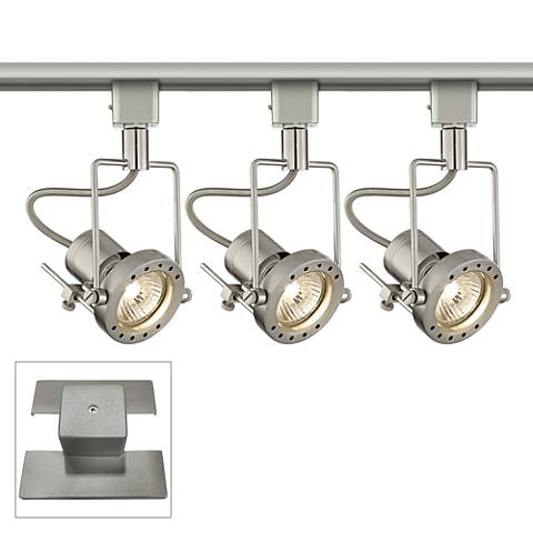 3-Light Brushed Steel European Track Kit w/ Floating Canopy