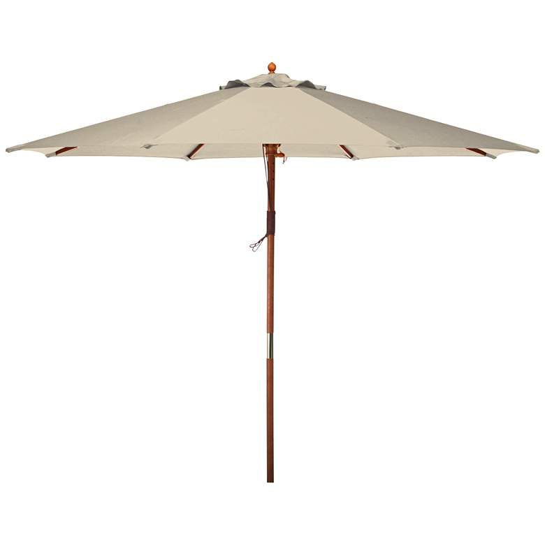 Doreen Natural 9' Wood Market Umbrella