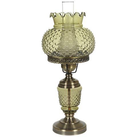 "Green Hobnail Glass 23"" High Hurricane Table Lamp"