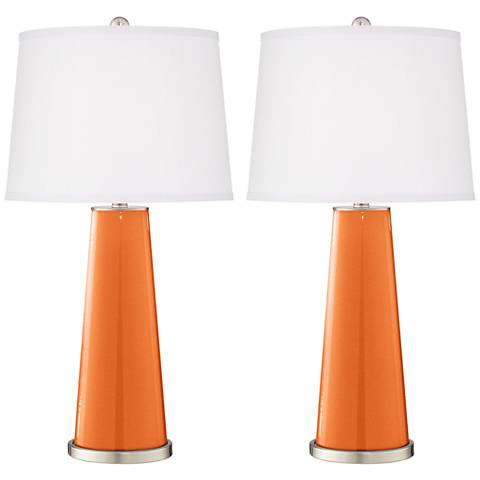 Burnt Orange Metallic Leo Table Lamp Set of 2
