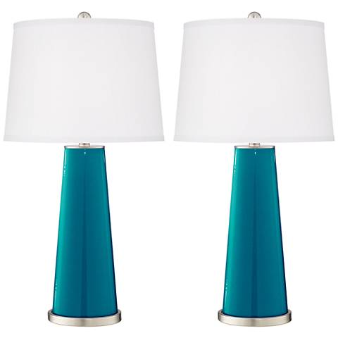 Turquoise Metallic Leo Table Lamp Set of 2