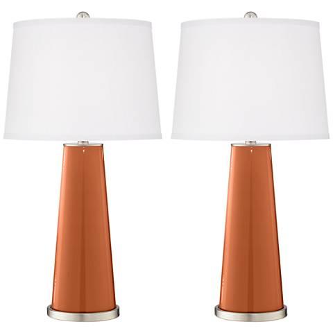 Robust Orange Leo Table Lamp Set of 2