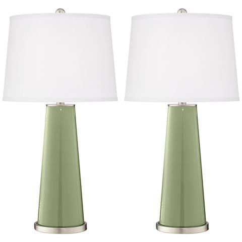 Majolica Green Leo Table Lamp Set of 2
