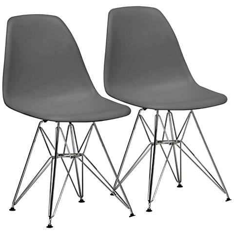 Baxton Studio Azzo Gray Shell Chrome Side Chair Set of 2