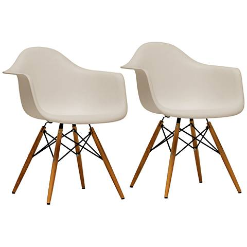 Baxton Studio Pascal Beige Molded Shell Armchair Set of 2