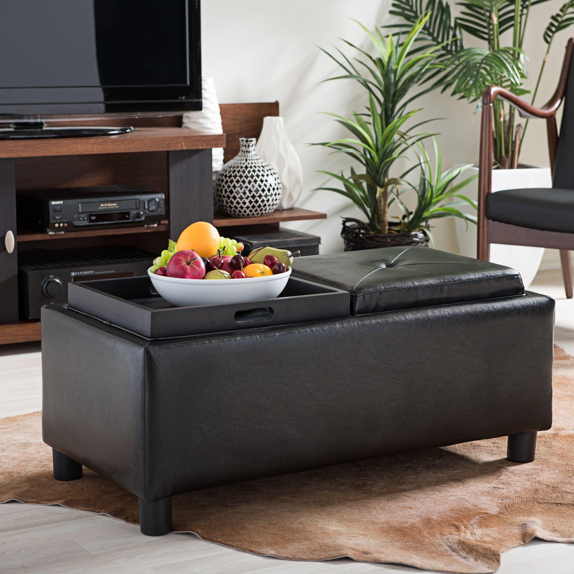 Billiard Black Bonded Leather Storage Ottoman & Ottomans - New Ottoman Furniture | Lamps Plus