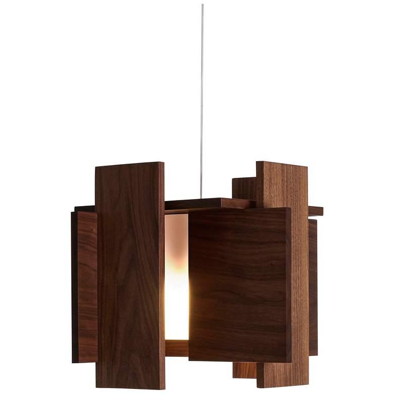 "Cerno Abeo 15"" Wide Dark Stained Walnut LED Pendant Light"