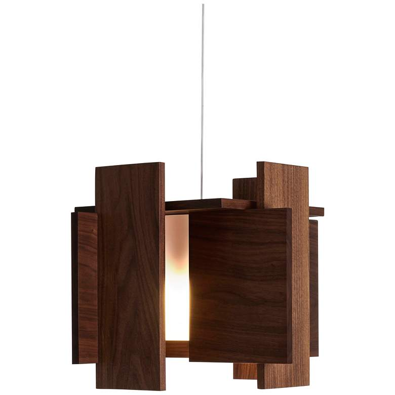 "Cerno Abeo 15"" Wide Dark Stained Walnut LED Pendant Light"