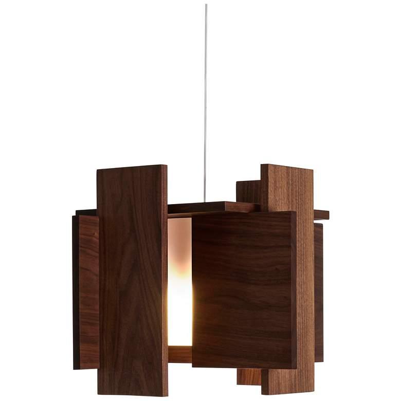 "Cerno Abeo 15"" Wide Oiled Walnut LED Pendant Light"