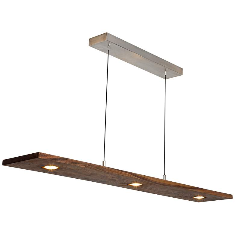 "Cerno Vix 34""W Oiled Walnut LED Kitchen Island Light Pendant"
