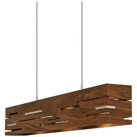 "Cerno Aeris 30"" Wide Oiled Walnut LED Island Pendant"