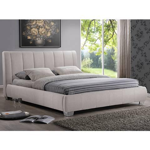 Baxton Studio Marzenia Beige Linen Queen Platform Bed