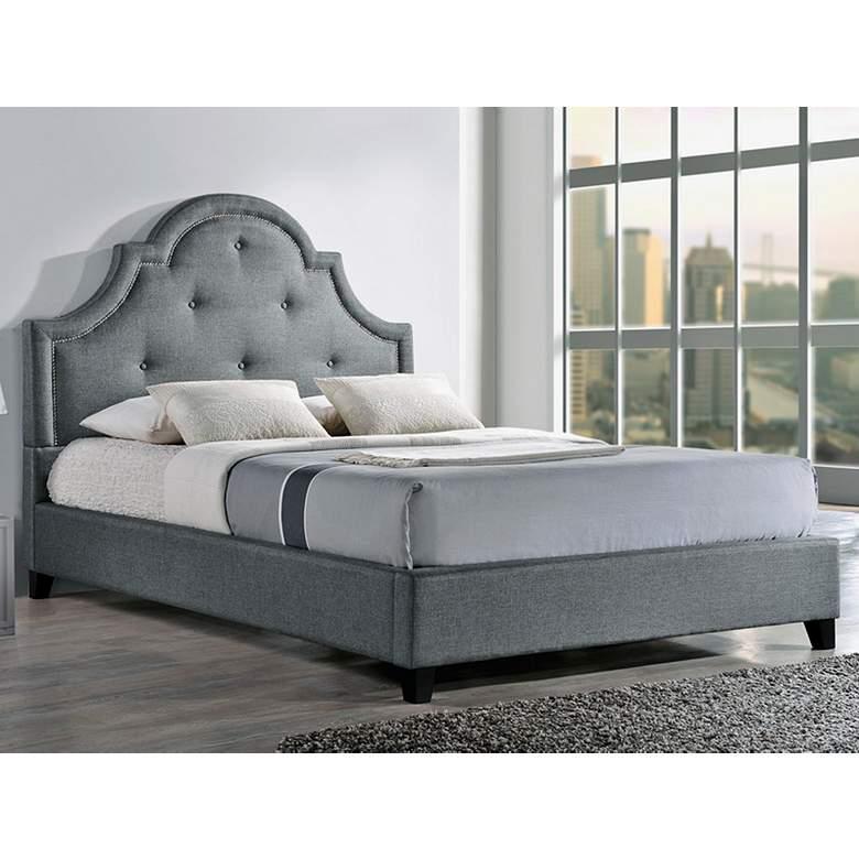 Baxton Studio Colchester Gray Linen Queen Platform Bed