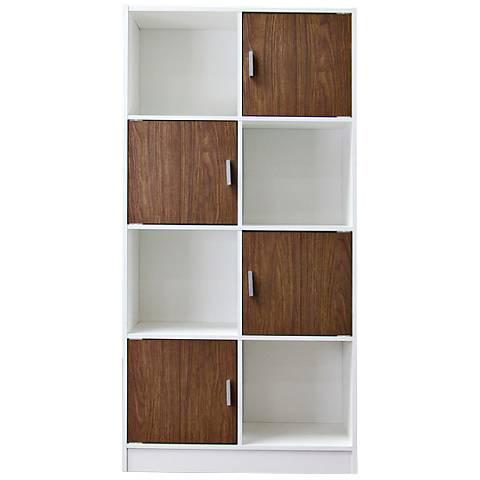 Baxton Studio Chateau White Cubbies Walnut 4-Door Bookcase