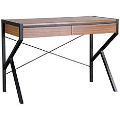 Baxton Studio New Semester Oak Brown 2-Drawer Study Desk