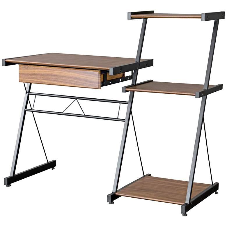 """New Semester 44 1/2"""" Wide Oak Modern Shelf and Computer Desk"""