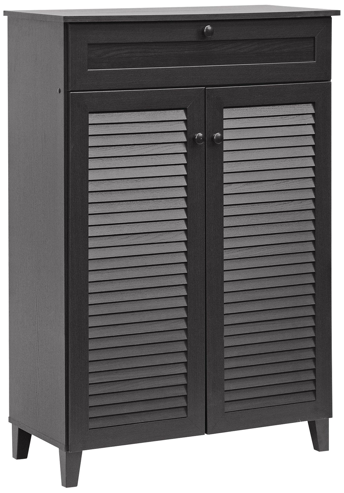 Harding Espresso 2 Door 1 Drawer Tall Shoe Cabinet