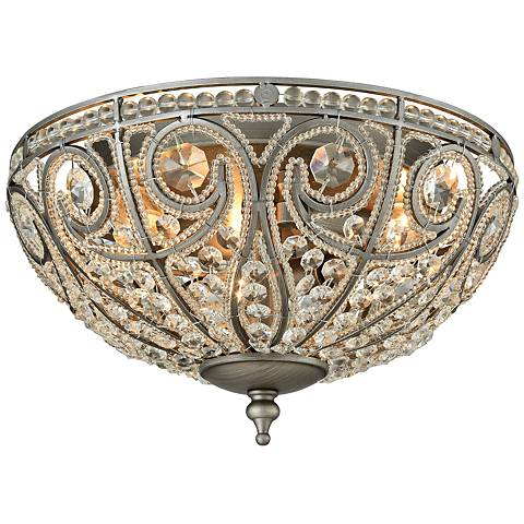 "Elizabethan 13"" Wide Weathered Zinc 3-Light Ceiling Light"