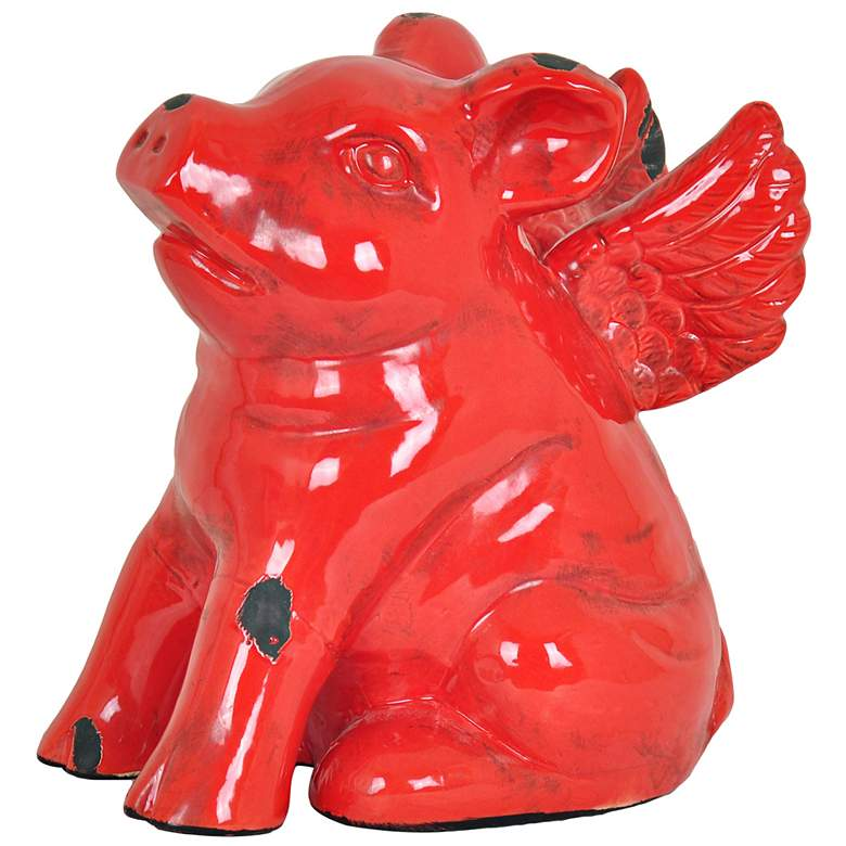 """Flying Pig 9 1/2"""" High Red Ceramic Country Farmhouse Statue"""