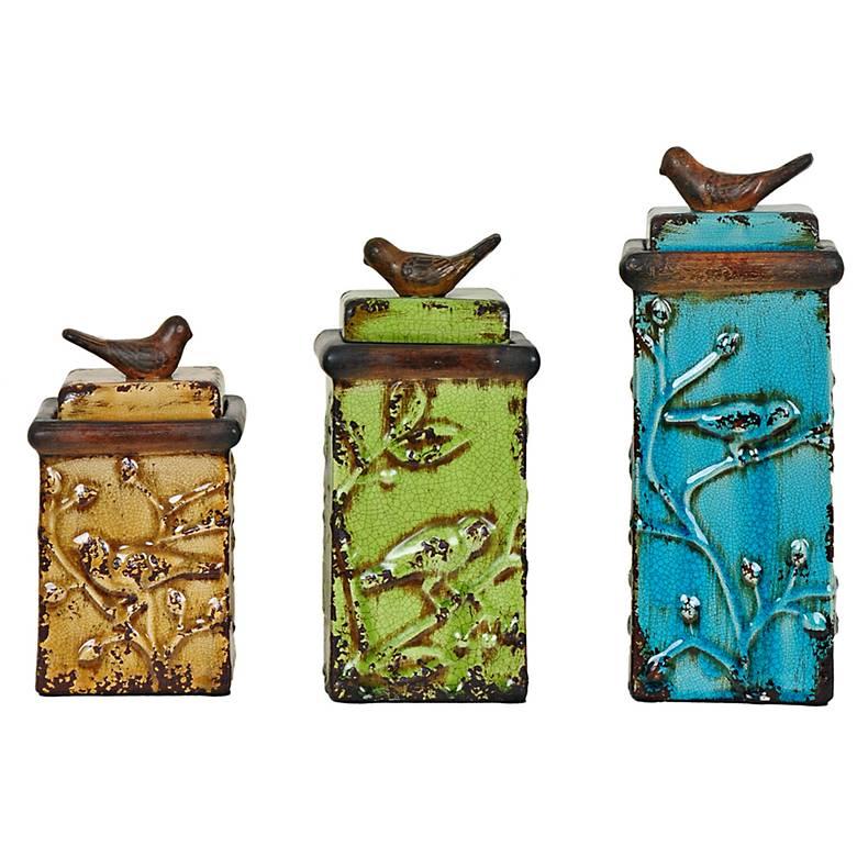 Crestview Bird Songs Ceramic Canister Box Set of 3