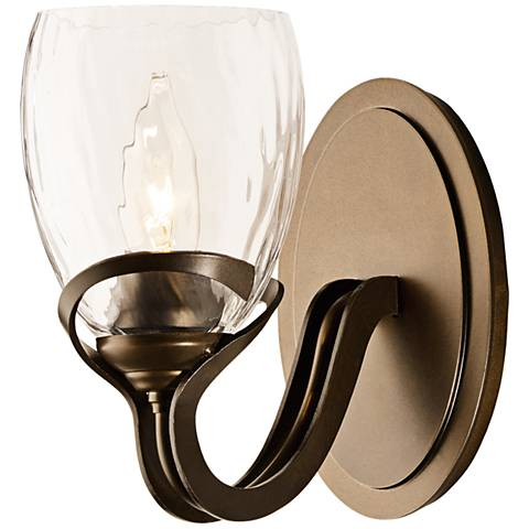 "Hubbardton Forge Abbrey 7 1/2"" High Bronze Wall Sconce"